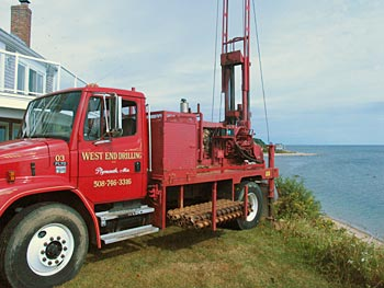 Drilling well at ocean front property